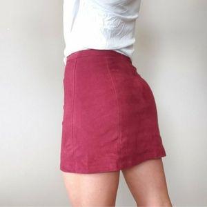 Bershka Deep Red Faux Suede A-Line Mini Skirt XS